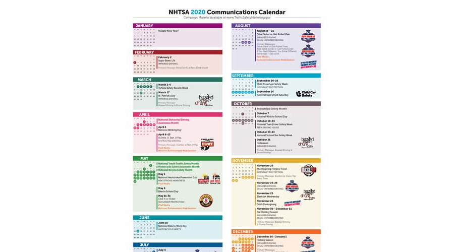 NHTSA 2020 Communications Calendar