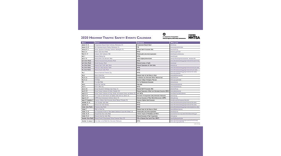 NHTSA 2020 Safety Events Calendar