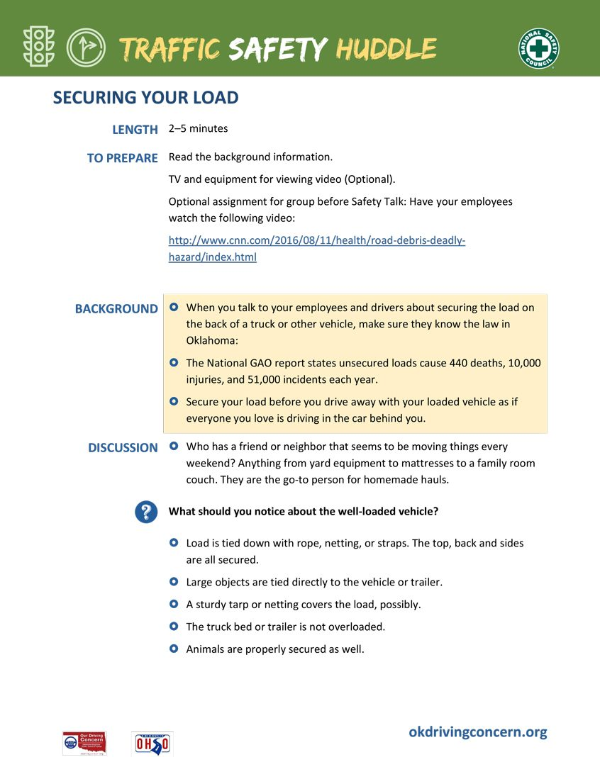 Securing Your Load Flyer